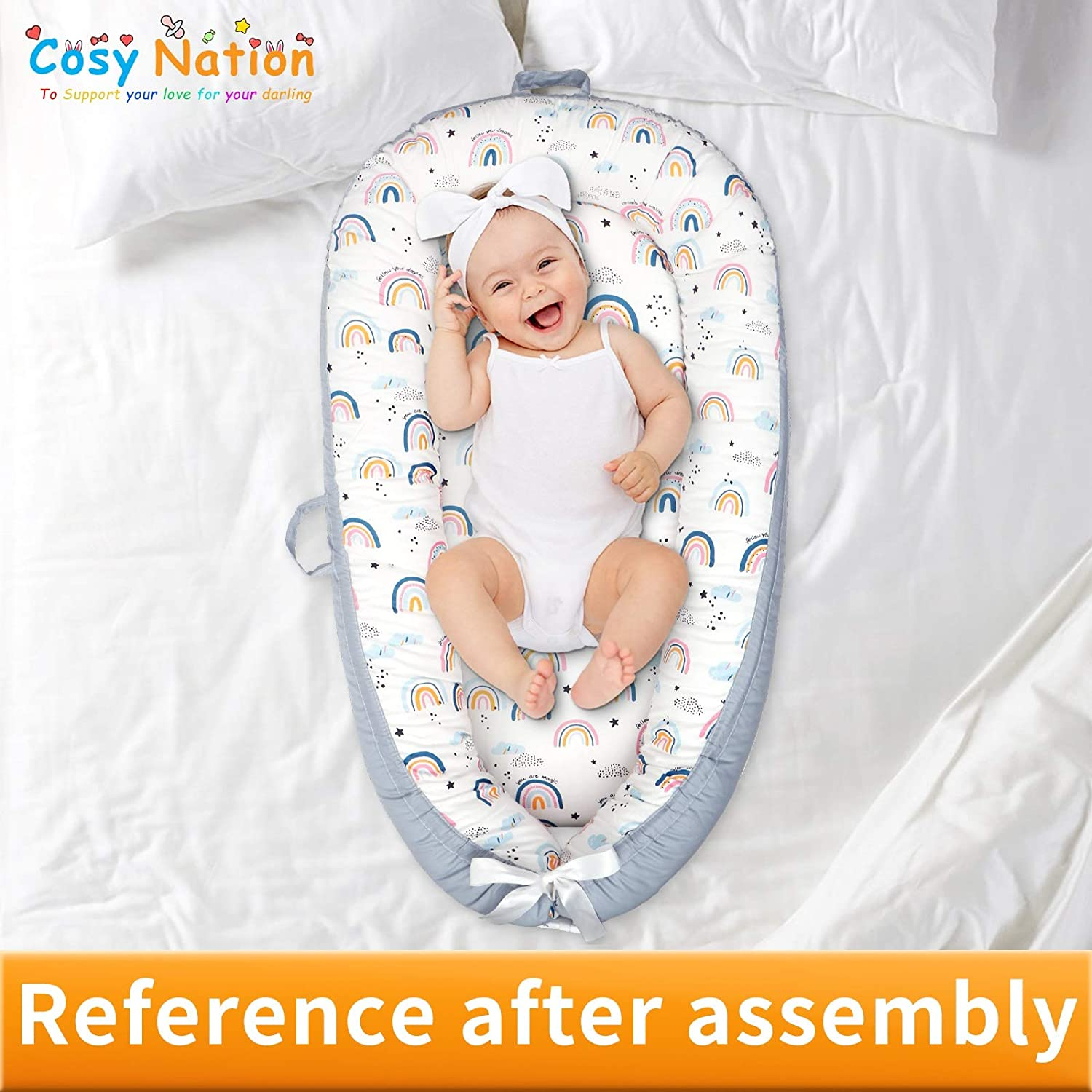 Baby Lounger Cover and Baby Nest Cover, 100% Breathable Fabric, Adjustable Size, Hidden Zipper, Machine Washable, Replacement Cover for CosyNation Baby Lounger (Rainbow)
