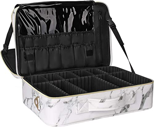 Relavel Makeup Train Case Cosmetic Organizer Make Up Artist Box Large Size with Adjustable Shoulder for Makeup Brush ...