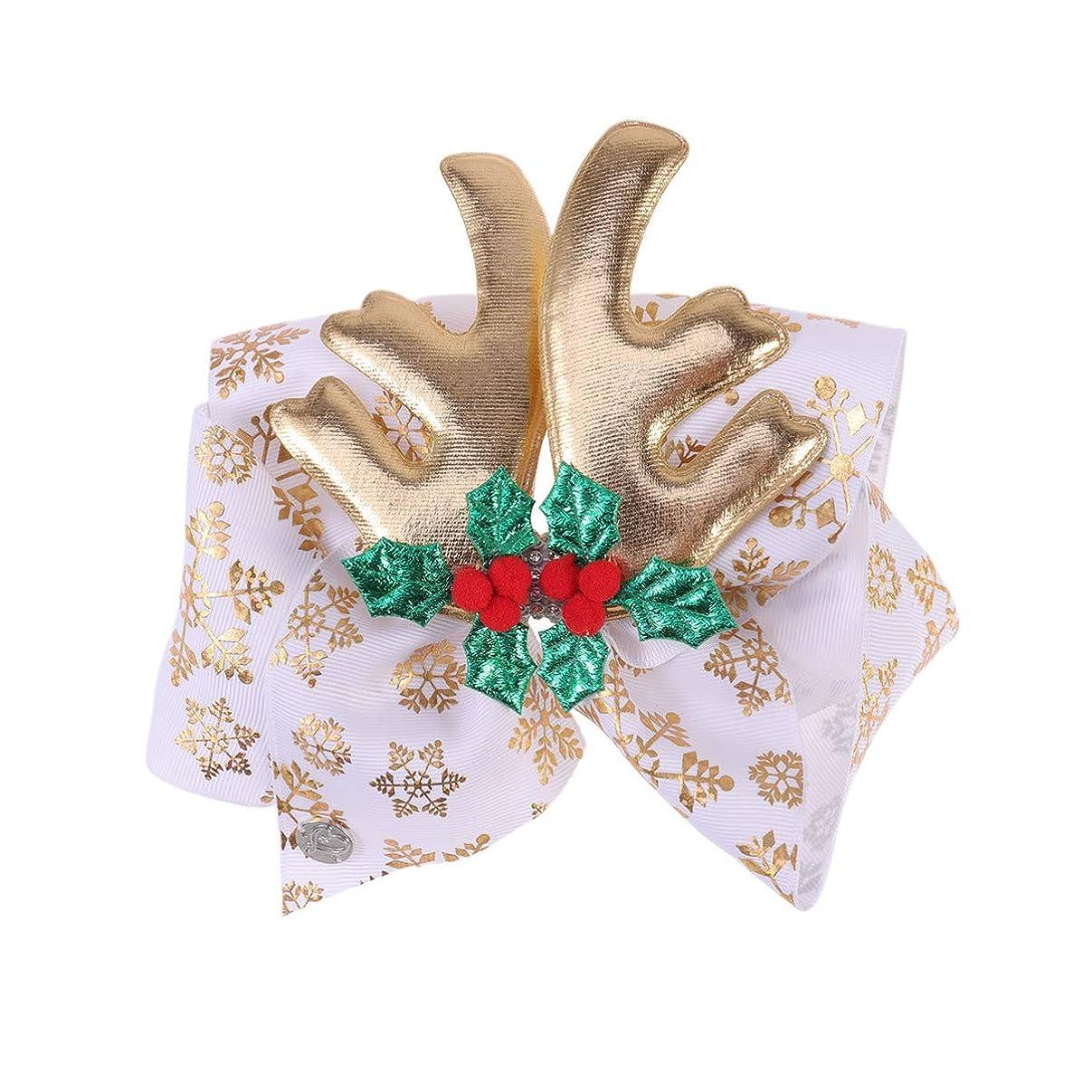 シュリンクまさに入札Lurrose クリスマスの弓のヘアクリップ枝角ヘアピンクリスマスの日の子供の子供のためのダイヤモンドヘアアクセサリー