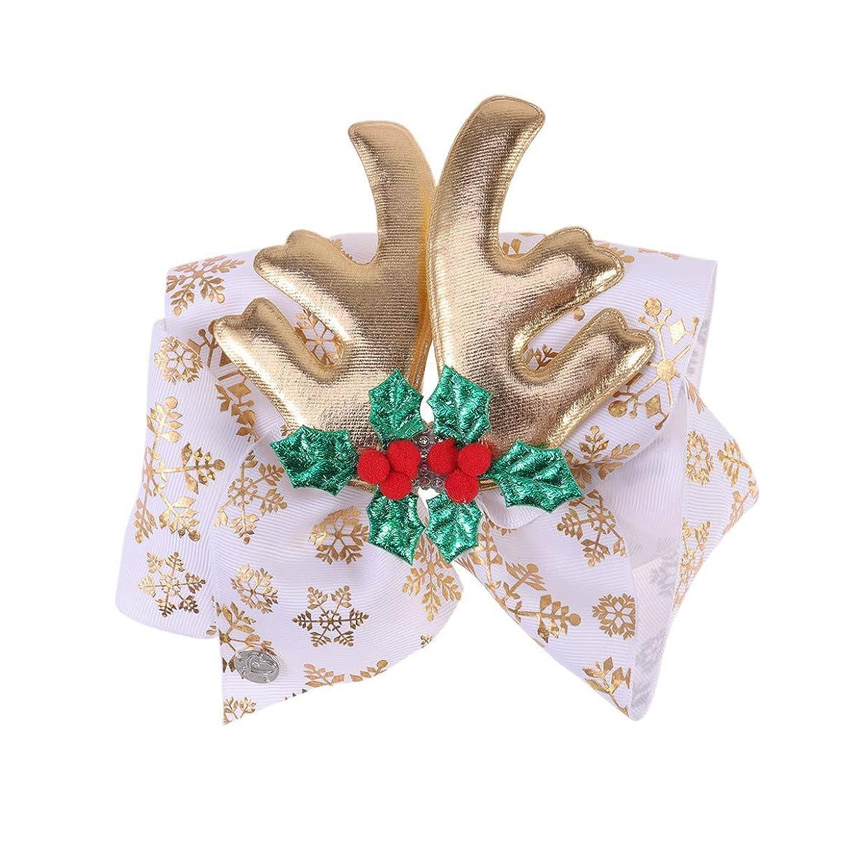 懲戒全部エントリLurrose クリスマスの弓のヘアクリップ枝角ヘアピンクリスマスの日の子供の子供のためのダイヤモンドヘアアクセサリー