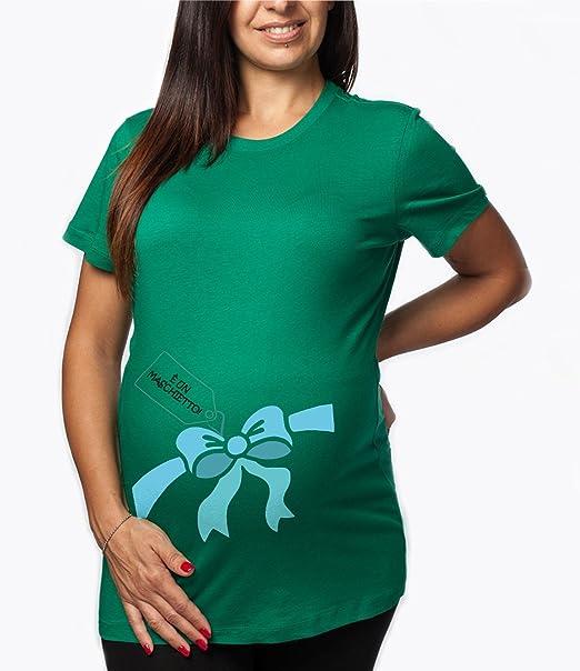Bimba Che SBIRCIA Gravidanza Nascita Made in Italy L, Nera T-Shirt Premaman Maglietta Lunga Donna Cotone Basic Super vestibilit/à Top qualit/à