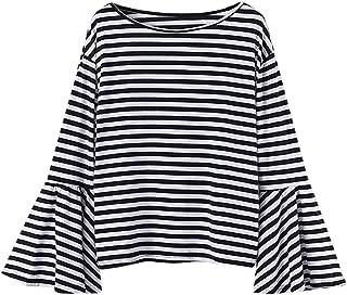 Reokoou Women Balloon Sleeve Shirt Fall Fashion Loose Casual Striped Long Flare Sleeve Chunky Pullover Tops Blouse