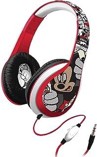 eKids - Auriculares de Diadema, Mickey Mouse, Negro, Rojo