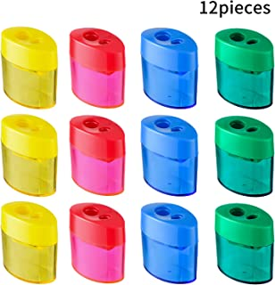 Zonon Double Hole Oval Shaped Pencil Sharpener with Cover and Receptacle Manual Pencil Sharpener Hand Pencil Sharpener for Office Home Supply (12 Pieces)