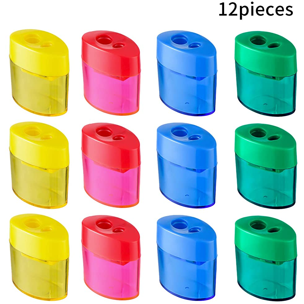 Zonon Double Hole Oval Shaped Pencil Sharpener with Cover and Receptacle Manual Pencil Sharpener Hand Pencil Sharpener for Office Home Supply (12)