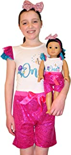 ZITA ELEMENT Clothes and Hair Accessories for American 18 Inch Girl Dolls Matching Girls - 2 Cotton Jumpsuit Shirt, 2 Sequin Pants and 2 Sequin Bowknot Hair Bands