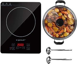 Aigostar Set Blackfire 30IAW - Placa inducción portátil multifunción, 2000 W, control táctil, 10 niveles potencia, función mantener caliente, programable. Incluye cazuela y utensilios.Diseño exclusivo