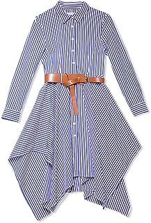 WYYY ドレス 夏の季節 ショートスカート ロングスリーブ ポロカラー ストライプ 不規則な 青 セレブリティ シャツドレス イブニングドレス (サイズ さいず : XL)