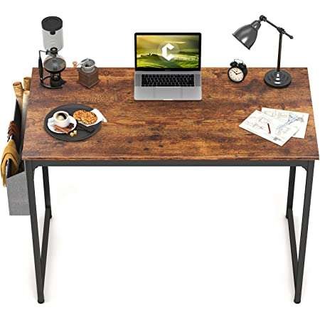 """CubiCubi Study Computer Desk 40"""" Home Office Writing Small Desk, Modern Simple Style PC Table, Black Metal Frame, Rustic Brown"""