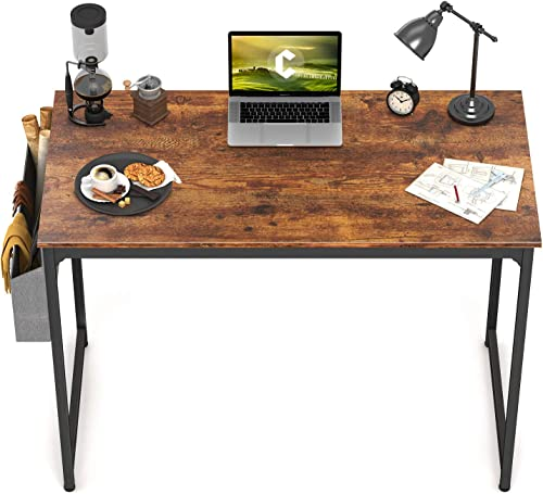 "CubiCubi Study Computer Desk 40"" Home Office Writing Small Desk, Modern Simple Style PC Table, Black Metal Frame, Rus..."