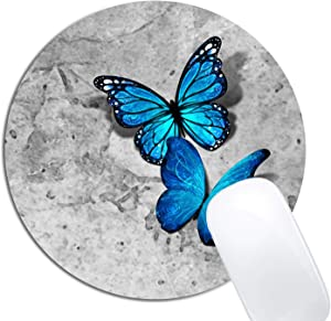 Blue Monarch Butterflies Gray Stone Watercolor Mouse Pad Round Non-Slip Rubber Mousepad Laptop Office Computer Decor Cute Desk Accessories Customized Design Mouse Pad