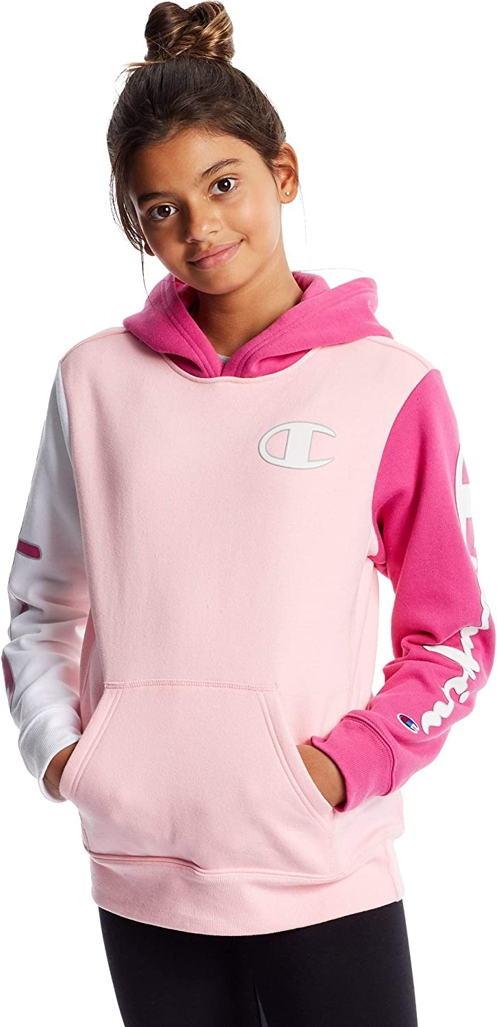 Champion Kid's Long-Sleeve Reverse Weave Colorblock Pullover Hoodie (Pink Candy/White)