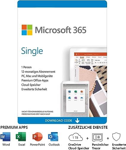 Microsoft Office 365 Single, 1 Jahr, PKC (deutsch) (PC/MAC) (QQ2-00993)