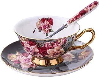 YBK Tech Ensemble tasse et soucoupe style européen en porcelaine de Chine pour la maison, la cuisine, un mariage (rose cla...
