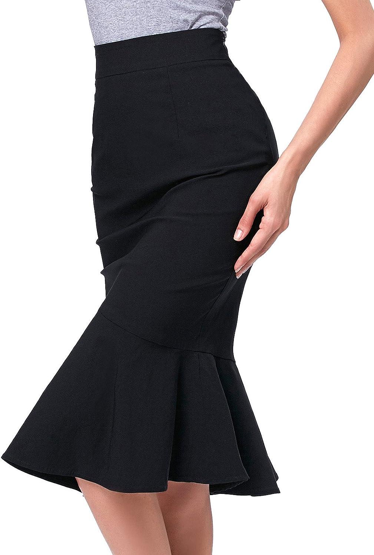 Kate Kasin Vintage Tailleur Femme Jupe Crayon Taille Haute Droite Mi Longue Style Sir/ène KK241