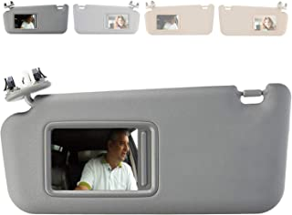 LSAILON Left Driver Side Sun Visor fit for Toyota Highlander 2008-2013 Built in Makeup Mirror,74320-48500-B0,74320-0E050-B0,74320-0E051-B0 Replacement Part with Sunroofand Light,Gray