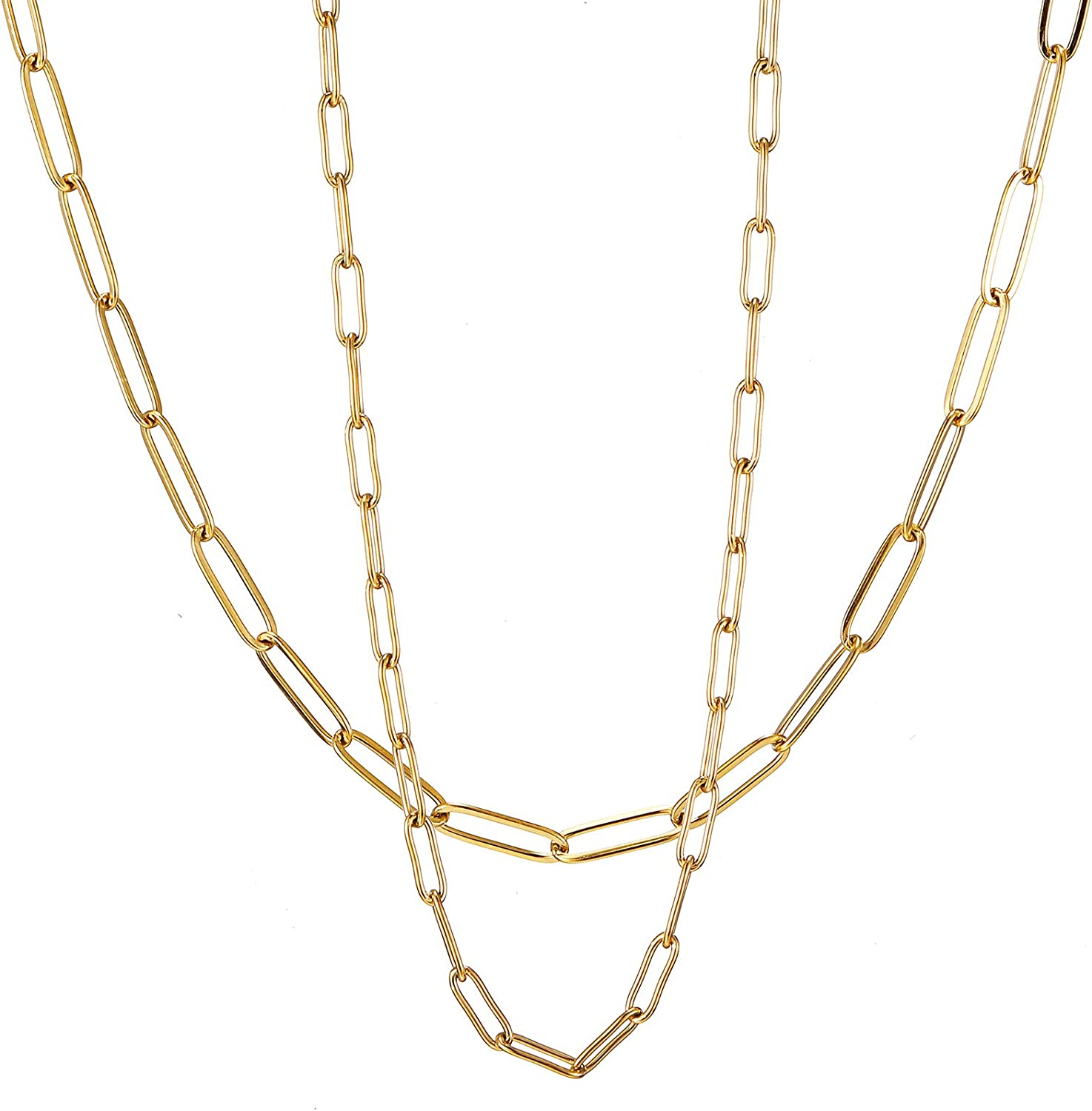 RWQIAN Special sale item 18k Gold Paperclip Chain Dainty Link L Max 89% OFF Necklace
