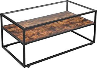 VASAGLE GLATAL Glass Coffee Table with Storage, Cocktail Table with Tempered Glass Top, Steel Frame, for Living Room, Rust...