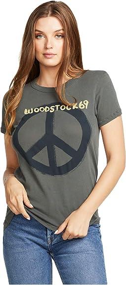 """Woodstock Peace"" Gauzy Cotton Jersey Basic Slim Tee"
