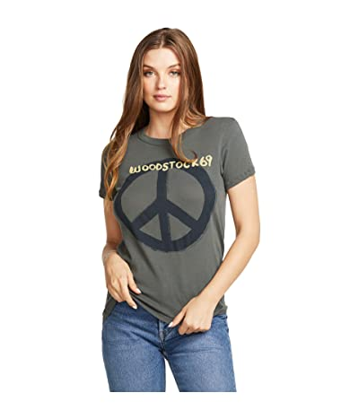Chaser Woodstock Peace Gauzy Cotton Jersey Basic Slim Tee (Safari) Women