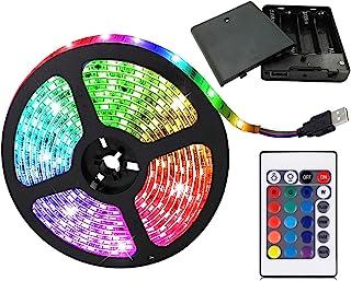 aijiaer Batteridrivna LED-remsor, 5050 2 m/6,6 FT, vattentät flexibel färgändring RGB LED-ljusremsa, 60 lysdioder 5 V batt...