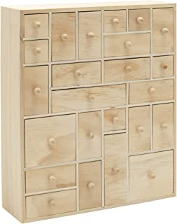 HYGGEHAUS Wooden Storage Organizer with Drawers - Craft Storage | Teacher Toolbox | Desktop Organizer | Apothecary Cabinet | DIY Advent Calendar | 24 Drawer. Unfinished Wood. 12.5in x 14.5in x 4in