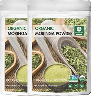 Organic Moringa Green Leaf Powder 2 Pound, Organic Raw-Gluten-Free & Non-GMO by Naturevibe Botanicals (32 Ounces (Pack of 2))