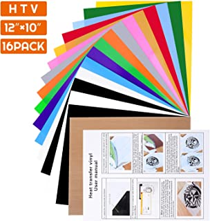 Heat Transfer Vinyl Bundle, Audab 16 Pack Iron on Vinyl with Teflon Sheet, 13 Assorted Colors HTV Vinyl for T-Shirts, Hats, Clothing, Compatible with Cricut, Cameo, Heat Press Machines, Sublimation