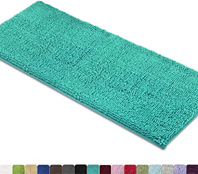 MAYSHINE Non-Slip Bathroom Rugs Shag Shower Mat Machine-Washable Bath Mats Runner (47x27.5 Inches) with Water Absorbent Soft Microfibers - Turquoise