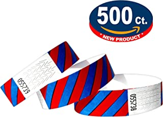 Tyvek Wristbands - Striped - 500 Pack - Neon Blue + Red - 3/4