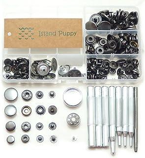 (Island Puppy) 選べるカラー バネ ホック ジャンパー ホック 4サイズ + 打ち具 レザークラフト 工具(ブラック)