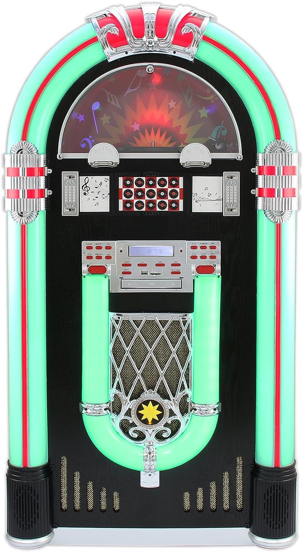 Monstershop Jukebox Holz-Gehuse Retro 50er Jahre Musikbox mit Schallplattenspieler USB-SD-Slot, AUX, MP3 Player CD-Player Blautooth Radio mit LED-Beleuchtung Fernbedienung 105cm x 57cm x 30cm