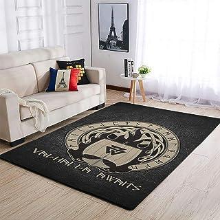 OwlOwlfan Viking Valhalla Awaits Tapis de sol moderne antidérapant pour intérieur ou extérieur Blanc 122 x 183 cm