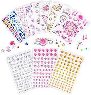 PP OPOUNT 12 Sheets Self Adhesive Rhinestone Gem Stickers, Assorted Colors and Shapes Bling Jewels Stickers for Decorating...