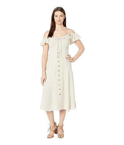 American Rose Natalie Cold Shoulder Button Up Dress (Oatmeal) Women