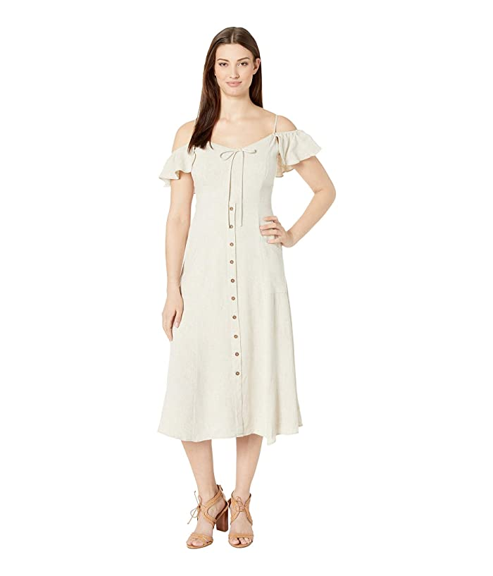 American Rose Natalie Cold Shoulder Button Up Dress (Oatmeal) Women