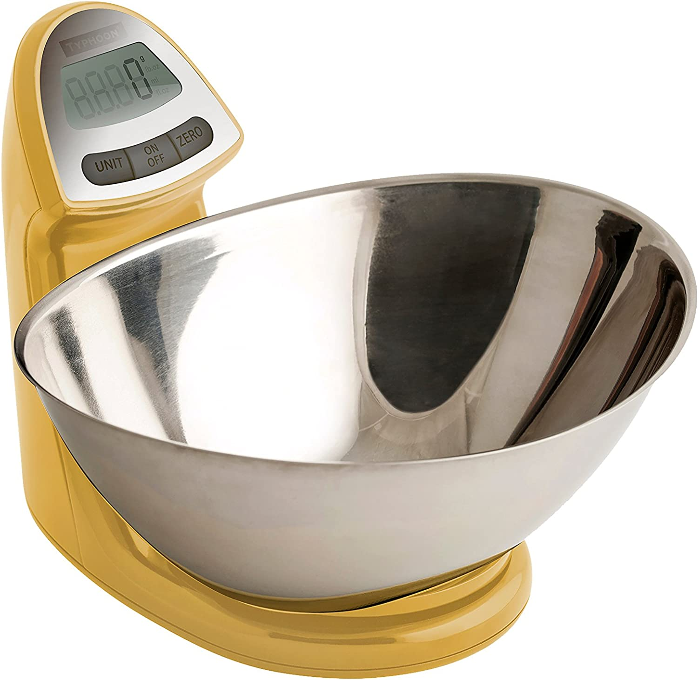 Typhoon Vision Stainless Steel Digital Food Kitchen Scale, Mustard