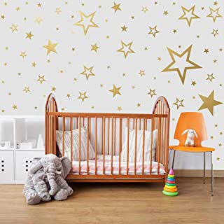 Mozamy Creative Star Wall Decals (146 Count) Gold Star Wall Decal Bedroom Wall Decals Star Wall Stickers Removable Peel and Stick Wall Decals, Vintage Gold