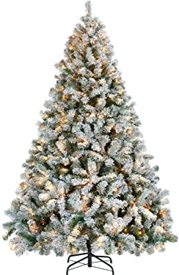 7.5ft Pre-lit Snow Frosted Artificial Christmas Tree with 250 Warm Light | FunctionalFox's Finds