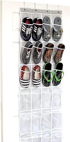 24 Pockets - SimpleHouseware Crystal Clear Over The Door Hanging Shoe Organizer, Gray (64'' x 19'')