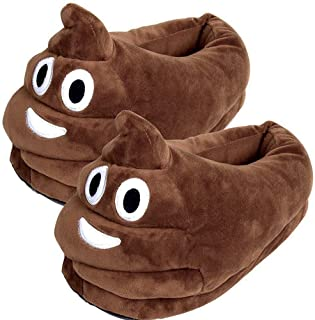YINGGG Unisex Cute Poop Emoji Slippers Plush Fluffy Comfortable House Shoes for Kids Women Men