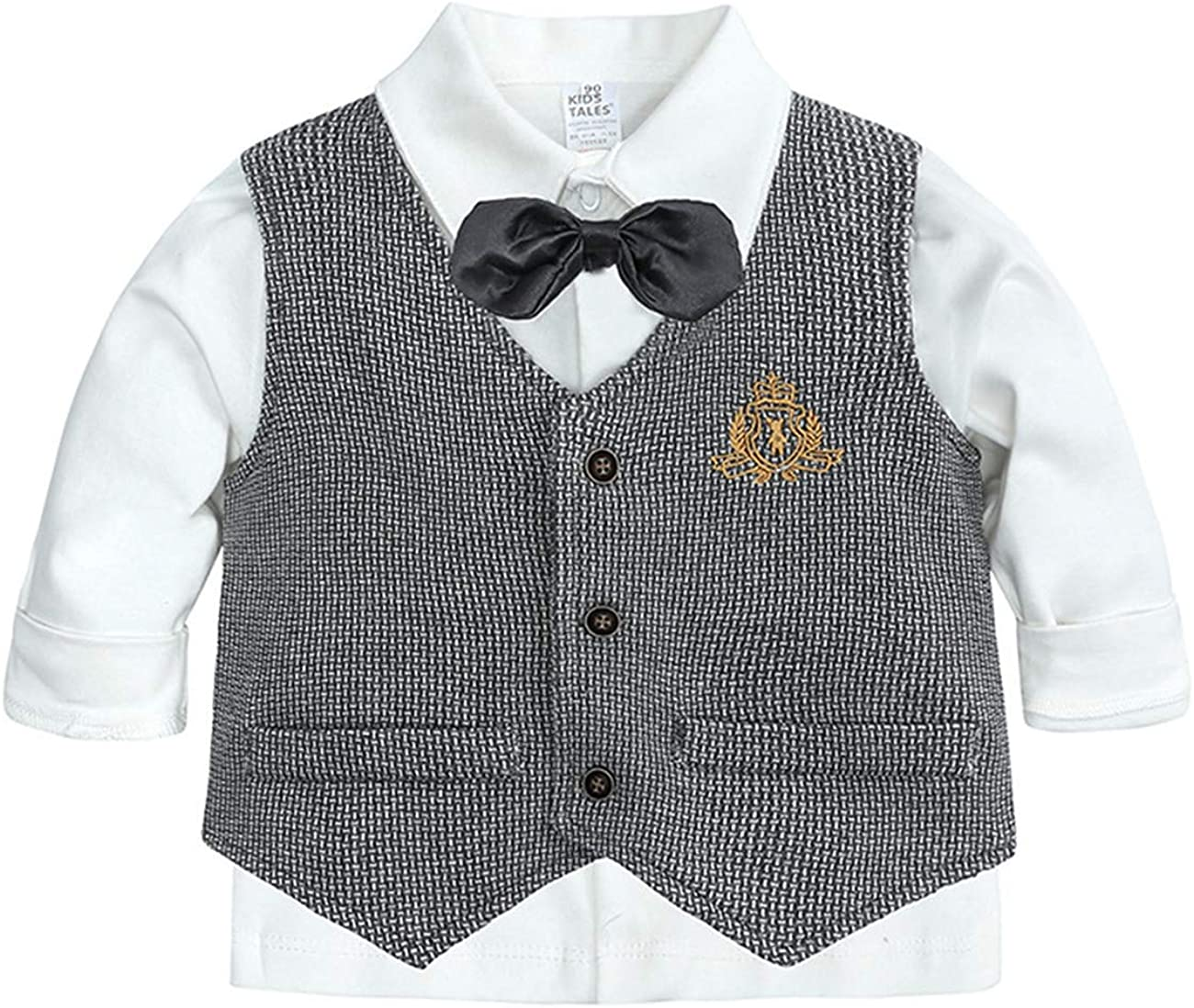 WOOKIT Baby Boys Baptism Christening Outfits Toddler Gentleman Suit Boys Vest+Shirt+Pant Three-Piece Suit Romper Jumpsuit with Bow Tie Baby Wedding Suit