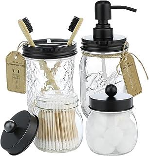 IMAVO Mason Jar 4 Pcs Bathroom Accessories Set - Mason Jar Toothbrush Holders & Soap Dispenser & 2 Qtip Cotton Pad Jars - ...