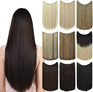 EMERLY Ombre Secret Hair Extensions 20 inch One Piece Transparent Headband Hairpieces Straight Highlight Invisible Flip in Hair Extensions Dark Brown