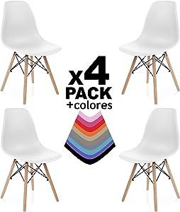 duehome Nordik - Pack 4 sillas, silla de comedor, salon, cocina o escritorio, patas madera de Haya, dimensiones: 47 x 56 x 81 cm de altura (Blanco)
