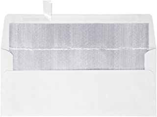 #10 Foil Lined Square Flap Holiday Envelopes (4 1/8 x 9 1/2) w/Peel & Press - White w/Silver LUX Lining (50 Qty.) | Perfect for Checks, Invoices, Letterhead, Statements, and More! | FLWH4260-03-50