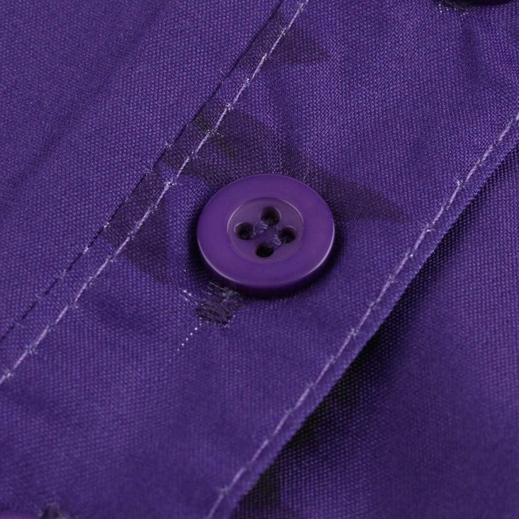 POPLY Frauen Große Größe Top Shirt Damen Drucktasche Kurzarmbluse Tank Tops Bohemian Lässige T-Shirt Plus Size Taste Hemd Lila