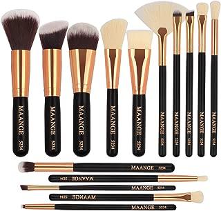 MAANGE Brochas de Maquillaje 15 Piezas Suaves Set de Brochas Para Maquillaje Brochas de Maquillaje Profesional Libre de Crueldad Pinceles de Maquillaje Kabuki(Negro)