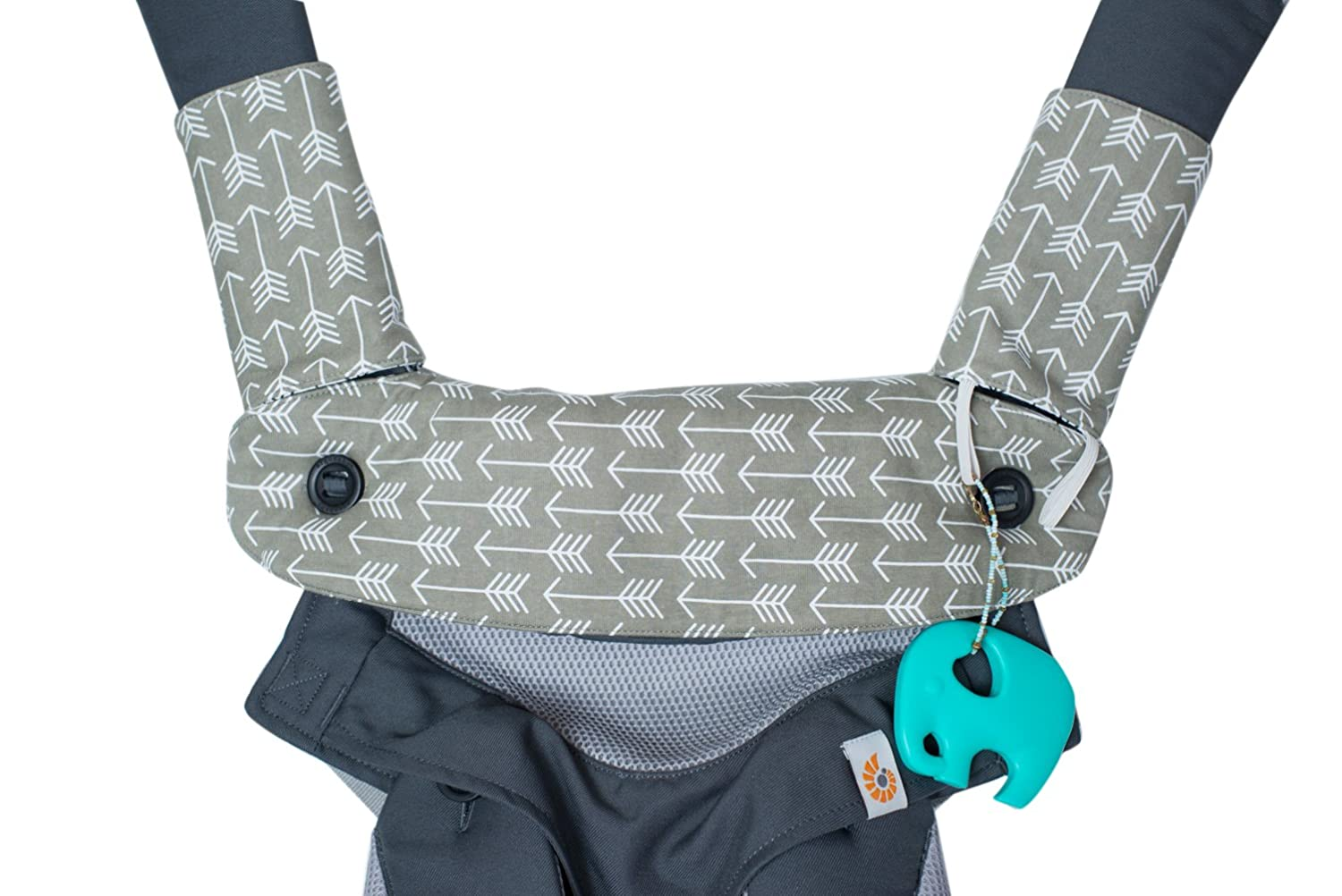 Premium 2 Packs Drool and Teething Reversible Cotton Pad - Fits Ergobaby Four Position 360 and Most Baby Carrier - Gray Arrow Cross Design - Hypoallergenic by Mila Millie