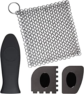 """Cast Iron Cleaner with Pan Grill Scrapers, Gzingen 8""""x6"""" Cast Iron Chainmail Scrubber 316L Stainless Steel Cookware Scrubb..."""